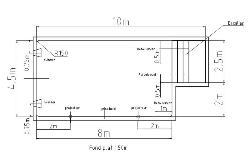 Plan de piscine en béton